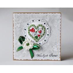 Kartka z zielonym serduszkiem