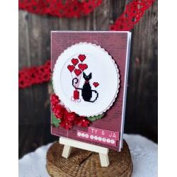 Kartka na Walentynki z kotem