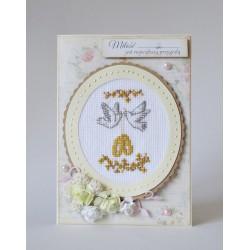 Kartka ślubna z gołębiami