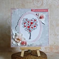 Kartka ślubna z drzewkiem