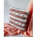 Poszewka na poduszkę w pasy biało brązowe