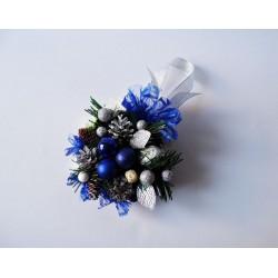 Stroik świąteczny niebiesko srebrny mały