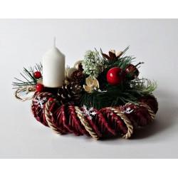 Stroik świąteczny ze świecą